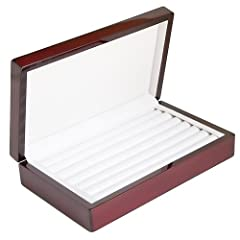 This high gloss rosewood finish ring case, elegant and beautiful. Soft leatherette lines the inside of the display case to protect your valuable rings. 6 ring rows covered with soft leatherette coverings. Great for anyone that has a ring coll...