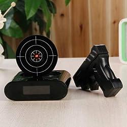WVRGHQTG 1Set Gun Alarm Clock/Shoot Alarm Clock/Gun/ Lock Load Target Alarm Clock Office Gadgets Black
