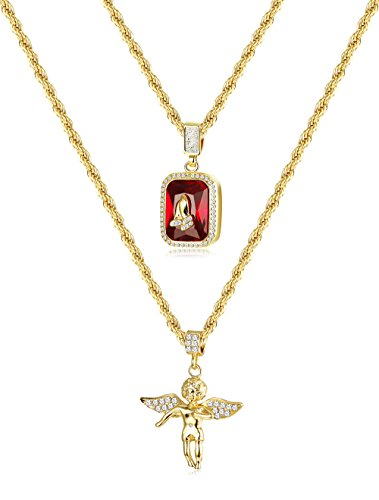 Gold Twist Pendant (Thunaraz 2Pcs 18k Gold Plated Necklace Angel Hip Hop Pendent Praying Hands Necklace Twist Rope Chain 24'' 30inch)