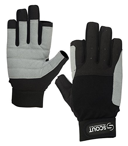 Sailing Gloves 2 Cut Finger Yachting Rope Kayak Dinghy Fishing Waterski Water Sports Gloves Black Gray (Black, Gray, L)