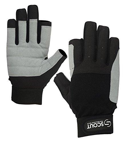Brand New SAILING GLOVES 2 Cut Finger Yachting Rope Kayak Dinghy Fishing WaterSki Water Sports Gloves Black Gray (Black, Gray, M)