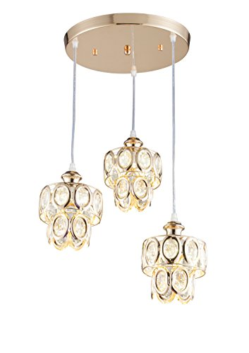 Broadway Modern Crystal Chandeliers Gold Finish Pendant Light Ceiling Fixture, BL-BIA-3L W12 X H24