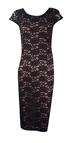 Connected Women's Lace Cowl-Back Sheath Dress (6, Black/Gold)