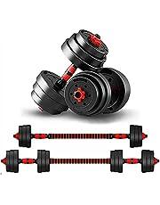 KirinSport 2-i-1 hantelset 20 kg Dumbbells 2 hantlar skivhantlar justerbara hantlar säkerhetslås + anslutningsrör skivstång vikter hantel