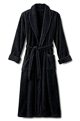 "Mens Black Luxury Terry Velour Bathrobe 48"" Length 100% Cotton"
