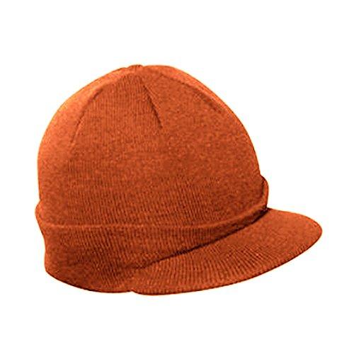Vintage Year Plain Short Billed Knit Radar With Cuff Beanie (Orange)