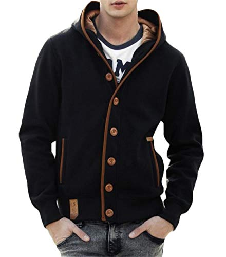 Gnao Mens Stylish Color Block Button Up Plain Elbow Patch Long Sleeve  Sweatshirt Hoodie Black M d0fff2b55