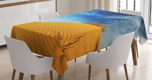 Landscape Tablecloth by Ambesonne, Hot Desert with Sand Dunes and Dry Plants with Blue Sky Nature Art Print, Dining Room Kitchen Rectangular Table Cover, 60 W X 90 L Inches, Blue and Apricot