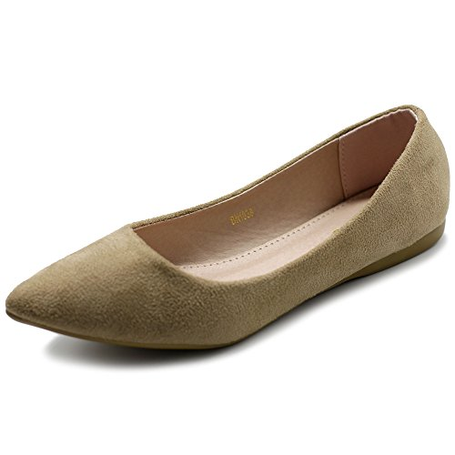 Ollio Women's Ballet Comfort Light Faux Suede Multi Color Shoe Flat ZM1038(9 B(M) US, Beige)