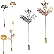 Brooches Pin Lapel Pin Boutonniere Set, Long Needle Plug Camellia/Maple Leaf Corsage for Suit Dress