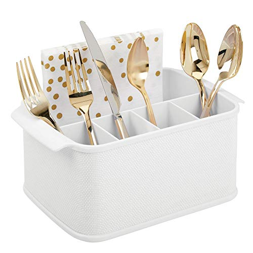 (mDesign Plastic Cutlery Storage Organizer Caddy Tote Bin with Handles for Kitchen Cabinet or Pantry - Holds Forks, Knives, Spoons, Napkins - Indoor or Outdoor Use, Woven Accent - White)