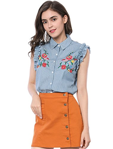 Embroidered Stripe Shirt - Allegra K Women's Ruffle Striped Floral Embroidery Button Down Shirt S Blue