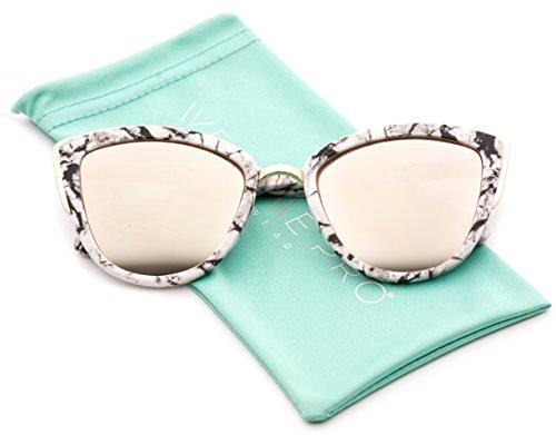 Womens Cat Eye Mirrored Revo Reflective Lenses Oversized Cateyes Sunglasses (Marble White Frame / Mirror Pink Lens, 50 mm) (Lens Mirror 50)