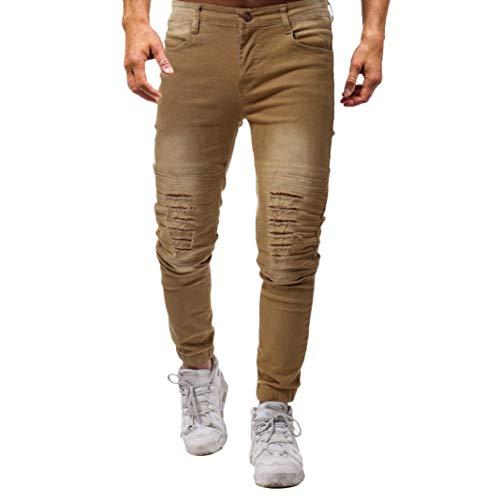 pantaloni Elasticizzati Denim Liuchehd Cerniera Strappati Fit Uomo Con Vintage Slim Pantaloni Jeans Da Cachi Skinny HqzUq0dw