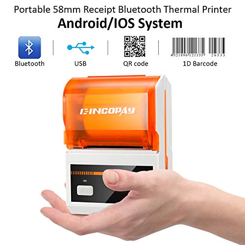 E-INCOPAY Thermal Printer,Portable Wireless Bluetooth Thermal Label Printer with Rechargeable Battery for Restaurant,Retail,Small Business and More Labels,Compatible with Android/iOS/Window 7/Windows by E-INCOPAY (Image #1)