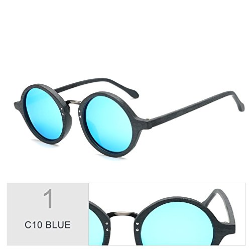 De C10 Placa C10 Espejo Redonda TIANLIANG04 Gafas Unisex Azul Madera De De De Polarizado BLUE Acetato Granos fw1Bd8