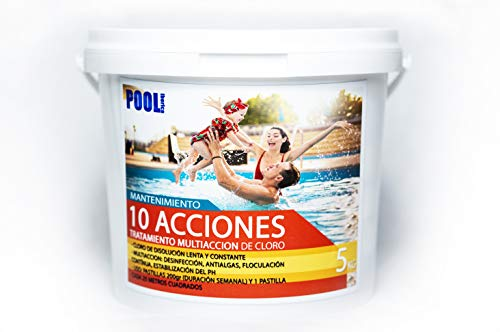 🥇 iFONT Cloro 10 acciones   Mantenimiento de Piscina   Tratamiento Multiacción   Formato 5 kg   POOLiberica