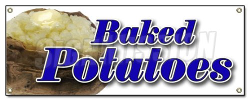 Baked Potatoes Banner Sign Signs Stand Concession New ()