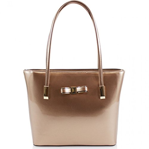 LeahWard? Women's Large Cute Bow Handbags College School Bags For Women Work Holiday Bag ROSEGOLD PATENT