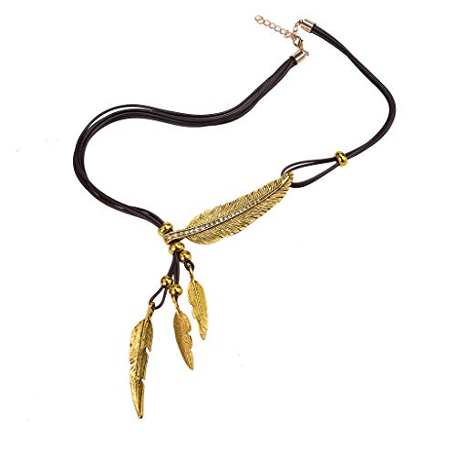 2018 Hot! Rhinestone Necklace,Leewos Fashion Alloy Feather Pendant Antique Vintage Time Sweater Chain Jewelry (Brown)