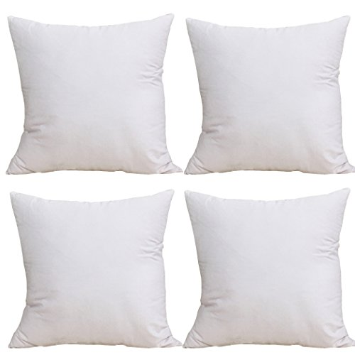 """4-Pack 100% Cotton Comfortable Solid Decorative Throw Pillow Case Square Cushion Cover Pillowcase 17.7"""" x 17.7"""" (White)"""