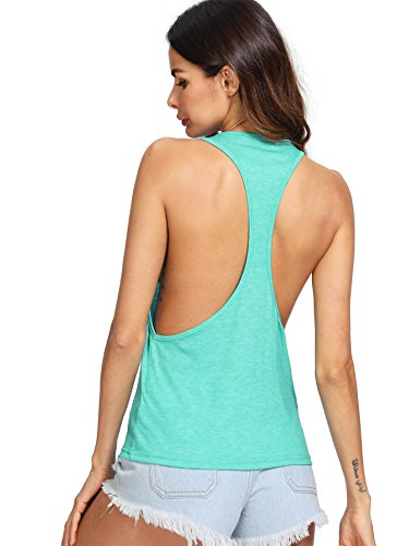 SweatyRocks Women's Sleeveless Racerback Tank Top Workout Gym Sport Vest Tops Green - Jersey Womens Racerback