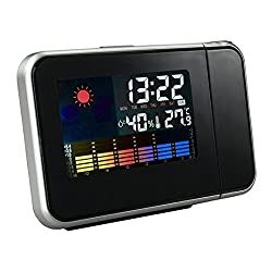 Projection Clock, Digital Projection Alarm Clock with Temperature Weather Station, Indoor/Outdoor Thermometer, Dimmable LCD Display, USB Charging, Dual Alarm