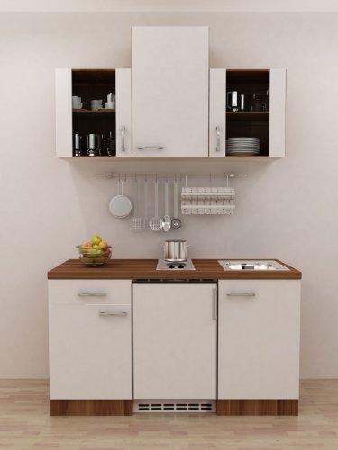 Büro küche 150 cm weiss mit geräten und glashänger como amazon de küche haushalt