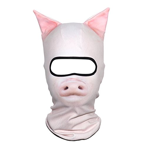 JIUSY 3D Animal Ears Fleece Thermal Hood Balaclava Neck Warmer Face Mask for Cold Weather Winter Outdoor Sport Motorcycle Cycling Riding Hunting Ski Snowboard Halloween Party Pig -