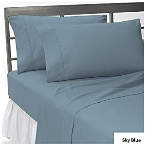 { 6 PCs Sheet Set } 25 inches Deep Pocket Solid Pattern 100% Egyptian Cotton 550 Thread Count ( Full , Sky Blue ).