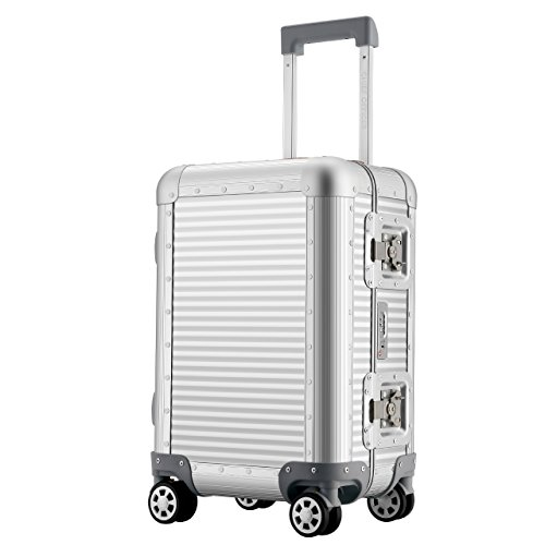 Business Aluminum Luggage Travel Hardshell Suitcase TSA Approved Rolling Men Women 20 by CHIEF OFFICER