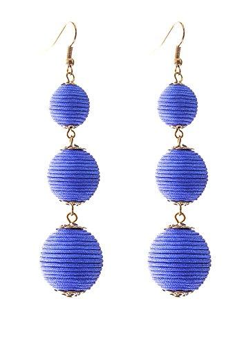 VK Accessories Thread Ball Dangle Earrings Thread Dangle Earrings Soriee Drop Earrings Beaded Ball Ear Drop Blue