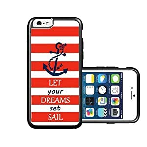 RCGrafix Brand Springink Red Let Your Dreams Set Sail Nautical Quote Case For HTC One M7 Cover CaFits NEW Case For HTC One M7 Cover