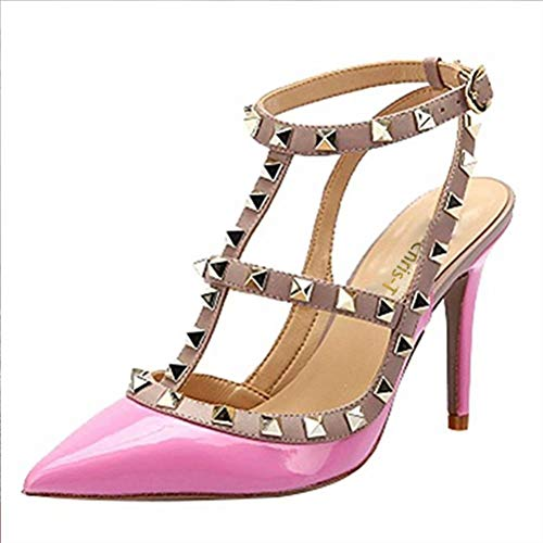 d Toe Stilettos Sandals Studs Strappy Slingback High Heels Leather Pumps Pink Size 8.5 US ()