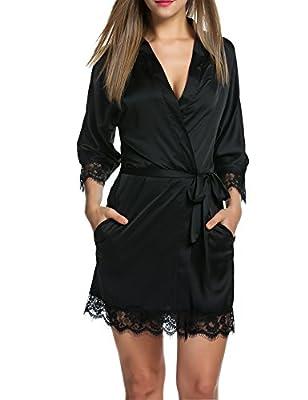 HOTOUCH Women's Bathrobes Short Kimono Robe Satin Sleepwear Silky Lace Trim Lingerie with Oblique V-Neck