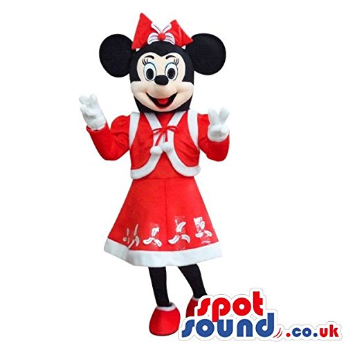 Mickey Mouse Disney Character Plush SPOTSOUND US Mascot Costume In Red Winter Clothes (Disney Character Mascot Costumes)