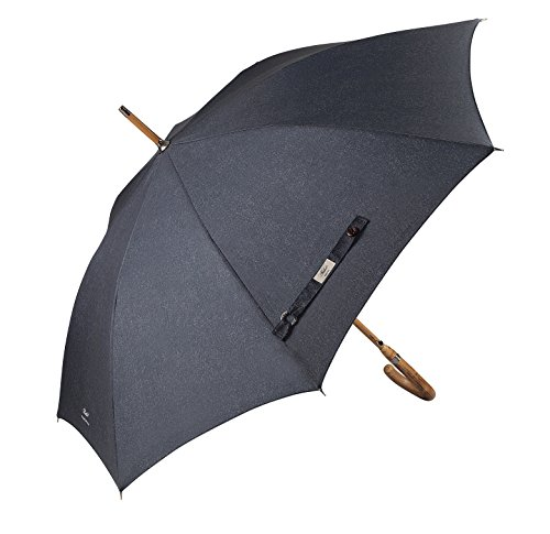 Balios Prestige Walking Umbrella, Real Wood Handle & Bamboo Shaft, Auto Open, Windproof Designed in UK (Denim Gray)
