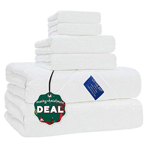 LITTLE JOY Bath Towels Set Extra Large 100% Cotton Shower Towels Highly Absorbent Super Soft Bathroom Towels Sets (White, Set of 6)