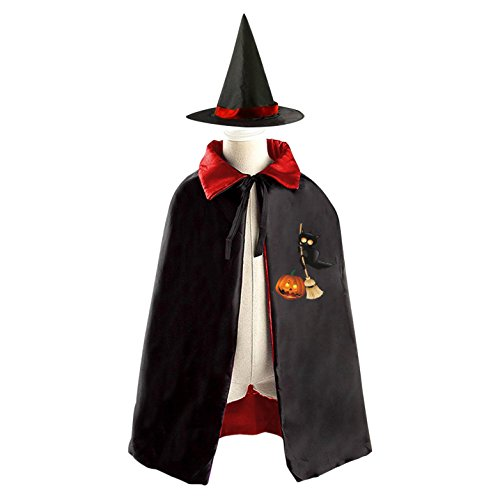 Black Wicked Cat Reversible Robe Cloak and Hat in Halloween Fancy Ball