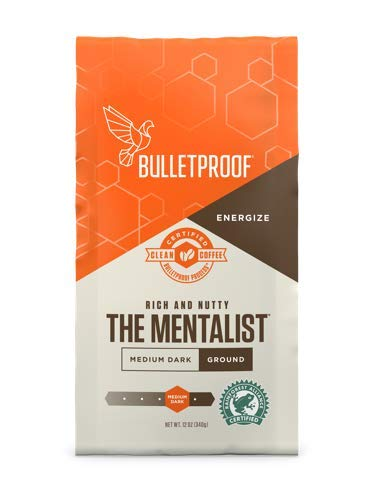 Bulletproof The Mentalist Ground Coffee - Premium Gourmet Medium Dark Roast Organic Beans, Rainforest Alliance certified, Clean Upgraded Ground