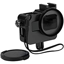 D&F Black CNC Aluminum Alloy Housing Sport Camera Shell Box Frame Mount Prevent Overheating with Protective Lens for Gopro HERO 5