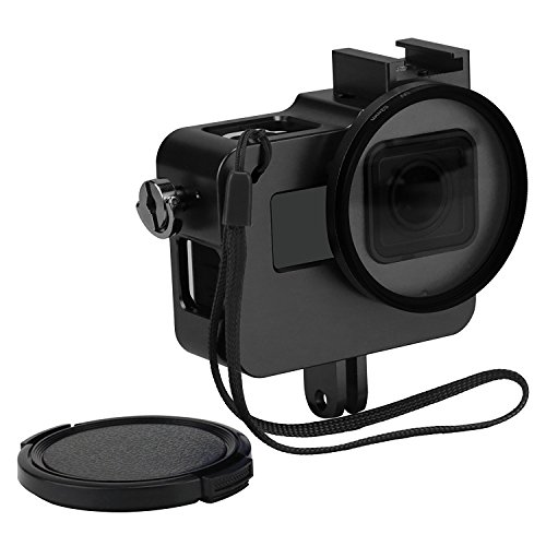 Mount Housing - D&F Black CNC Aluminum Alloy Housing Sport Camera Shell Box Frame Mount Prevent Overheating with Protective Lens for Gopro HERO 5