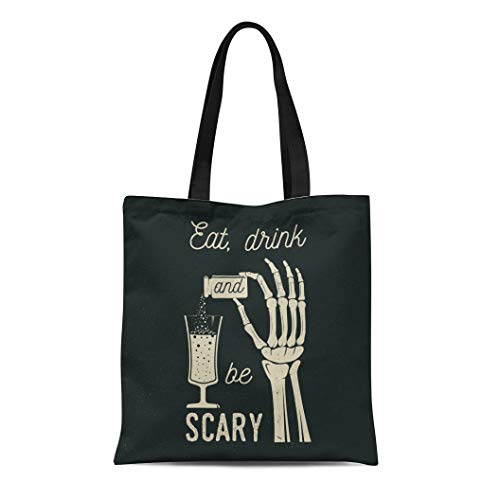 Semtomn Canvas Tote Bag Eat Drink and Be Scary Halloween Retro Badge Overlay Durable Reusable Shopping Shoulder Grocery -