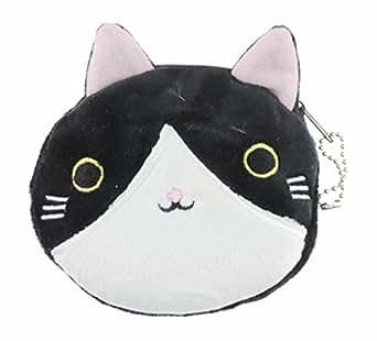 Glamour Girlz Adorable peluche de tacto suave redondo diseño de gato de gatitos y Pig Face de vaca monedero tipo cartera clave cadena Idea de regalo para las niñas Bi Colour Black White talla única