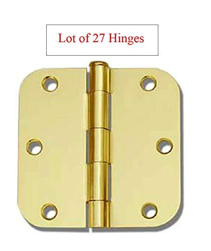 (27 Pack Polished Brass 3.5' 5/8 Radius Corner Interior Door Hinges)
