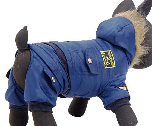 Warm Clothes for Large Dogs Winter Clothes Jumpsuit for Dogs Pets Hooded Coat Product XL-5XL,Blue,XXL ()