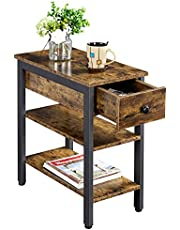 Yaheetech Industrial Narrow End Side Table with Drawer and 2 Open Storage Shelf, 3 Tier Slim End Table for Small Spaces, Stable and Sturdy Construction, Wood Look Accent Furniture, Rustic Brown