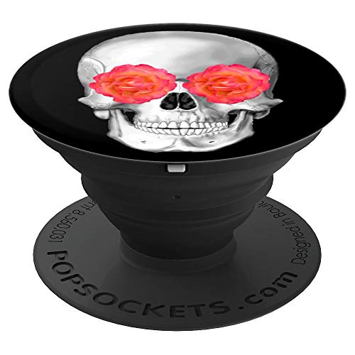 Three Amigos Skulls with Red Rose - Halloween Graphic PopSockets Grip and Stand for Phones and Tablets