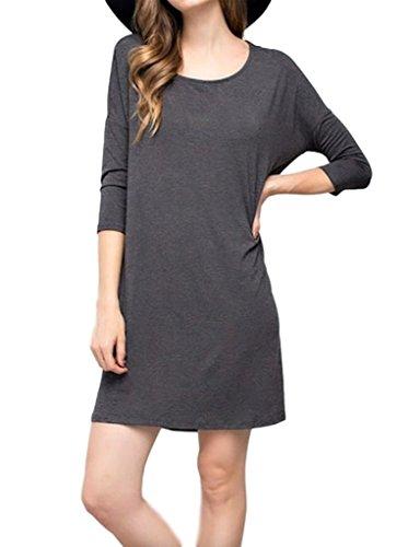 Mitto Shop Womens Premium Bamboo Fiber Three-Quarter-Sleeve Knit Shift Dress (Large, Charcoal)