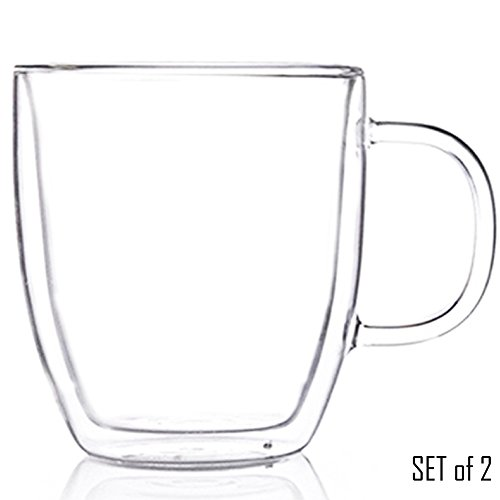 Tealyra - Sirius - Clear Double Wall Glass Tea Mugs With Handles - Set of 2 - Keeps Beverages Hot Yet Stays Cool To The Touch - In Carton Gift Box - Perfect for Tea & Coffee (16oz / 500ml)